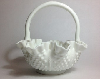 Fenton Hobnail Cable Basket in Milk Glass