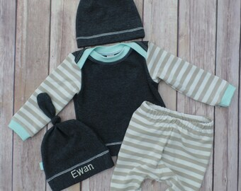 Baby boy//Charcoal and bamboo stripes + mint//Personalized baby hat