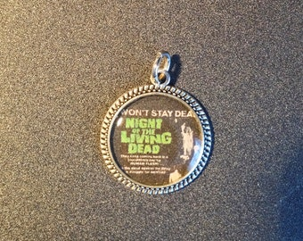 Night of The Living Dead Resin Pendant Necklace, Silver Color