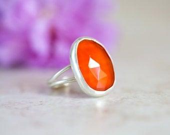 Carnelian Ring, Rose Cut Carnelian Ring, Orange Gemstone Ring