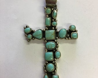 Large Mexican Sterling Silver & Turquoise Cross