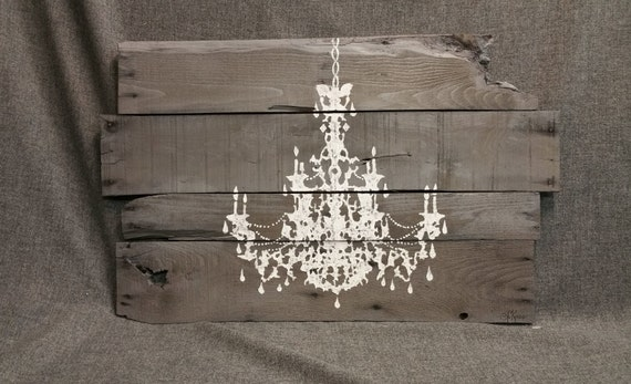 Pallet wall art chandelier shabby chic chandelier reclaimed for Pallet shabby chic