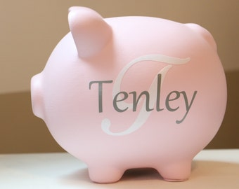 Large white and gold monogram personalized piggy by lizzabells - Engraved silver piggy bank ...