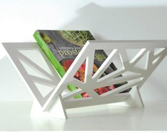 Magazine rack, newspaper holder, geometric, modern, white, wooden,