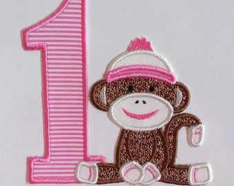 Sock Monkey Birthday Applique Digital Design PES Format /5x7 Hoop /INSTANT DOWNLOAD/Sock Monkey Applique/First Birthday Applique Design