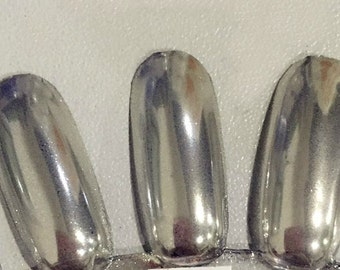 MIRROR Nail Chrome Powder SILVER Chrome for Nail Polish, Gel Nails, Nail art