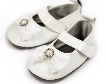 White baptism shoes, christening shoes, flower girl shoes, baby shower gift, birthday gift, for baby and toddler girls