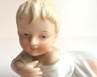 Vintage Bisque Porcelain Piano Baby - Gebruder Heubach, German