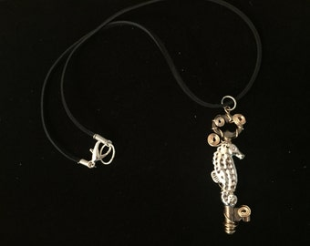 Wire-wrapped Seahorse Key Necklace
