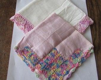 2 Vintage Linen  Handkerchief Pink Crochet Hankie