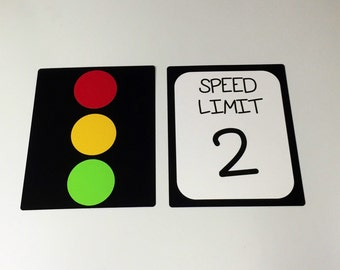 Personalized Race Car Birthday Party Signs, Stop Light, Speed Limit Sign, Race Car Party Decorations, Race Car (Set of 2)