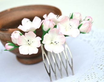 Sakura cherry apple blossom hair comb accessory. Spring wedding blossom floral hair accessory headpiece. Polymer clay flowers