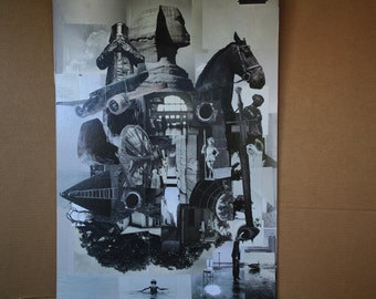 Collage Giclee print Sphinx  Surreal Island dream Landscape montage Magazine cut  hand made