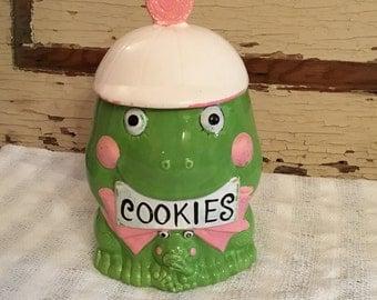 Vintage Green Frog Cookie Jar Japan