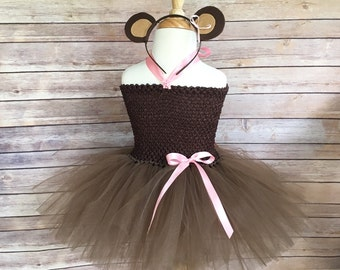 Monkey costume - monkey tutu -  girls dress up costume - brown monkey dress - monkey birthday dress  - brown tutu -pink and brown dress