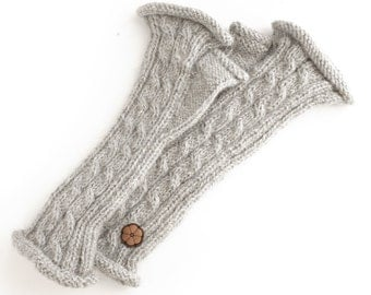 Grey twisted mittens, 100% natural color alpaca, hand-made
