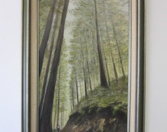 "Signed Vintage Original Acrylic Landscape Painting of Trail in the Woods * Signed Lori Rossi * Size 16"" x 28"" with Frame"