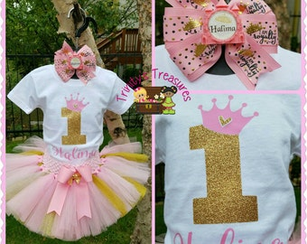 First Birthday Tutu Set, 1st Birthday Tutu, Pink & Gold Tutu, First Birthday Outfit, First Birthday Shirt, Royal Treasures, Cake Smash