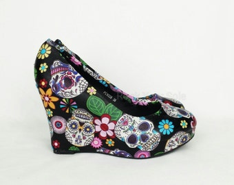 Day of the dead shoes, sugar skulls wedges, women shoes, custom shoes, alternative footwear, footwear, shoes, gothic shoes, gift for her