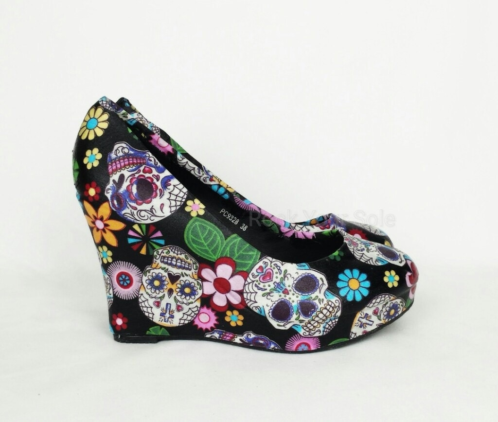 Day of the dead shoes sugar skulls wedges women shoes