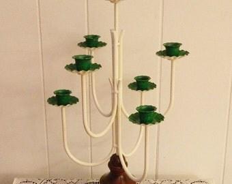 Metal Candelabra, Tall Wedding Centerpiece, Shabby Wedding Candelabra, Upcycled Green Candelabra, Wood Base Candelabra, Cottage Chic
