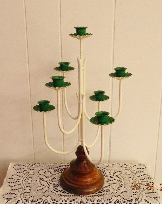 Metal candelabra tall wedding centerpiece shabby