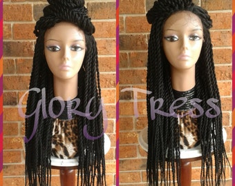 ON SALE// Senegalese Twists Braided Lace Front Wig, Long Hand-Braided Senegal Wig, African American Wig // BELOVED (Free Shipping)