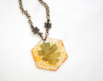 Hexagon leaf necklace