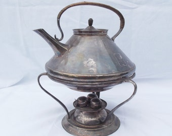Rare antique tea pot and warming stand art Deco style hallmarked quality paraffin burner, tea kettle warmer quality silver plate tea pot