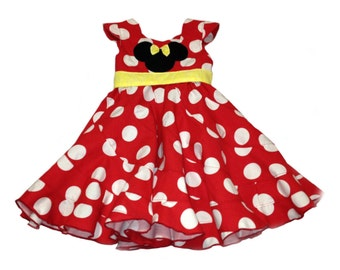 Disney Theme Minnie Mouse big dot Custom Boutique Pageant Dress... Sizes available 12M-10 girls