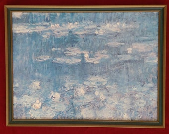 Claude Monet - Waterlillies Green Reflections Reproduction, Canvas, Framed