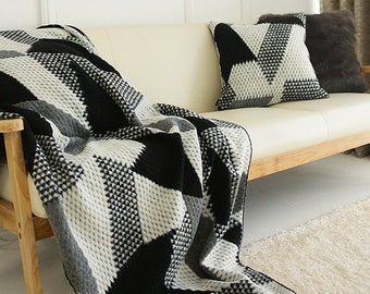Wool Blended Decorative Knit Blanket Throw Blanket 59 by 40 inch for Bed and Sofa Perfect for Housewarming Gift