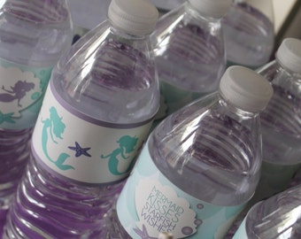 Little Mermaid Printables/Mermaid Water Bottle Labels/Little Mermaid Water Bottle Labels/Under the Sea Printables/Mermaid Favors