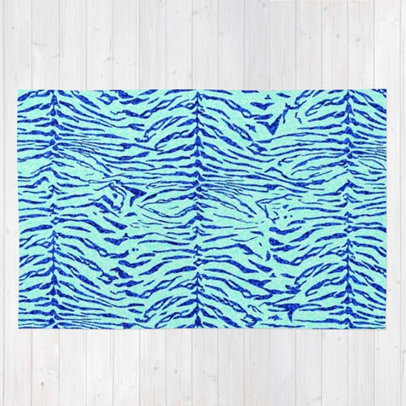 Animal Print Bath Rug: Rug. Animal Print Rug. Tiger Print Rug. Blue By