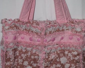 Dusty Rose Floral and Pink Fabric Rag Tote/Bag