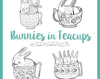 Cute Hand Drawn Bunny Rabbit Clipart, Digital Bunny Clipart, Rabbit Illustration, Line Art Bunny Rabbits Teacup Clipart, Cute Bunny Download