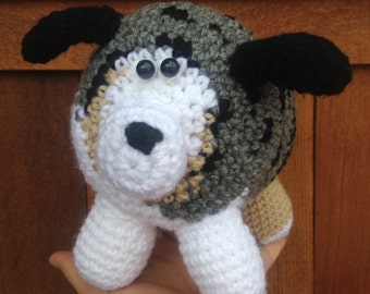 Handmade crochet australian shepherd- stuffed animal australian shepherd- knit plush dog- handmade chubby dog- stuffed toy dog