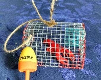 Maine Lobster trap ornament nautical decor