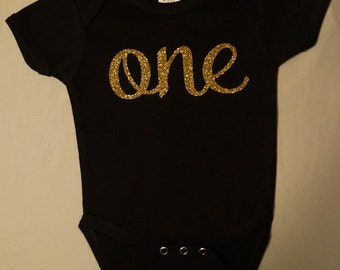 Black and Gold Cursive 'one' Shirt