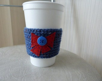 ON SALE Cup cozy/Knitted Cup Cozy/ Coffee Cup Cozy with Bow / Blue Coffee Cozy /Knit Cup Cozy