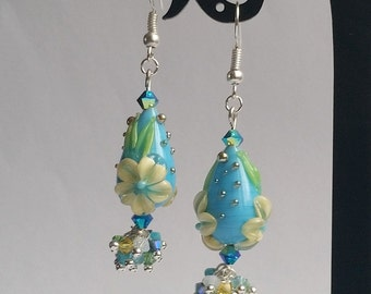 "earrings, lampwork ""Botany 10"""