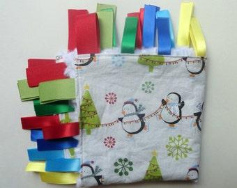 Tag Blanket - Penguin Blanket - Sensory Blanket - Christmas Blanket - Penguin Minky Lovey - Baby Ribbon Blanket - Baby Gift