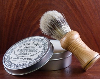 VEGAN Economy Shaving Set, Shaving Kit, with sustainable long bristle beard brush, artisan soap, craft brush handle