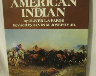 american Indian book pictorial history by oliver la farge 1996 illustrated buffalo turquoise jewelry horses wood canoe cabin decor