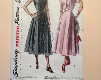 Simplicity 2408  Misses sundress and Bolero 1940's size 14 1/2, Bust 33.