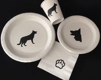 Dog Birthday Party - German Shepherd - Animal Birthday - Dog Plates - Dog Party - Baby Shower - GSD - Puppy Party - Puppy Plates - Paw Party