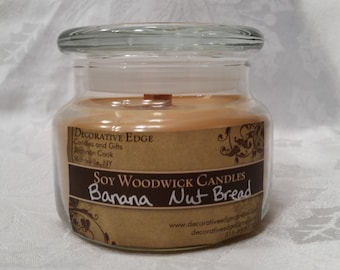 Banana Nut Bread Soy Woodwick Candle - soy candle - jar candle