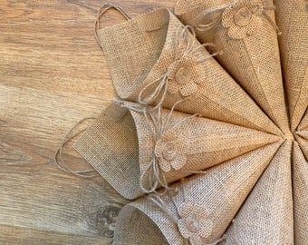 Set of 30. Burlap basket, Burlap cone, Burlap pew, Rustic Pew Cones, Burlap Pew Cones, Burlap Church Decor, Rustic Wedding Decor.
