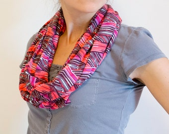 CLEARANCE Pink and Aqua Chevron Patterned Infinity Scarf