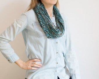 CLEARANCE Turquoise and Brown Batik Pattern Infinity Scarf
